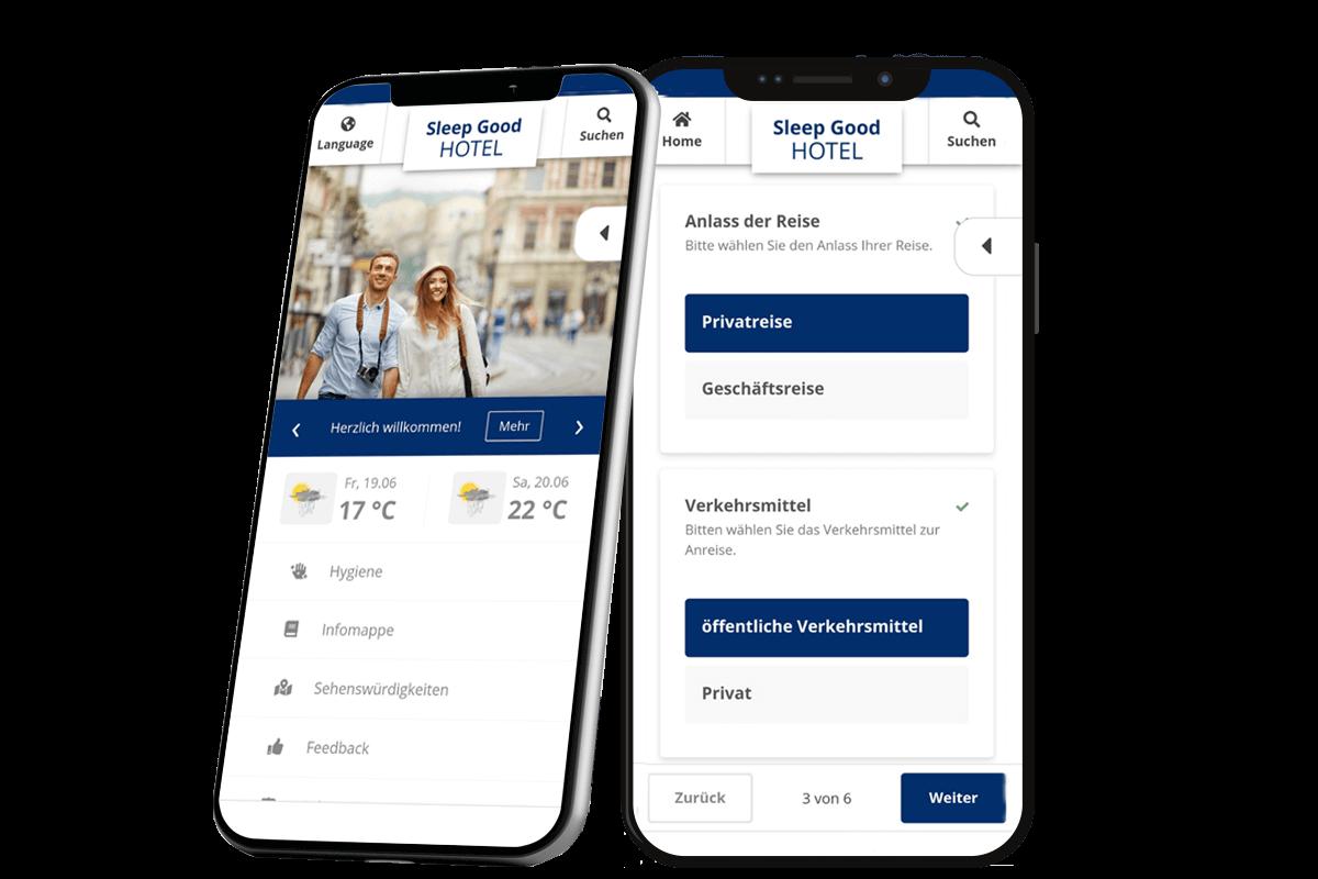 Digitaler Reisebegleiter App auf dem Smartphone